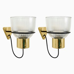 Italian Modern Brass and Molded Glass Sconces by E. Gozzini for Candle, 1970s, Set of 2