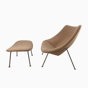 Vintage Oyster Lounge Chair & Ottoman Set by Pierre Paulin for Artifort, 1960s