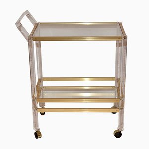 Vintage French Lucite and Glass Drinks Trolley, 1980s