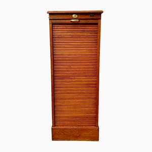 Mid-Century French Oak Tambour Filing Cabinet, 1950s