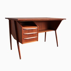 Danish Teak and Wood Desk by Gunnar Nielsen Tibergaard for Tibergaard, 1960s