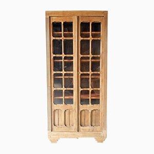 French Wood & Glass Wardrobe, 1950s