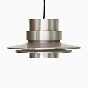 Danish Brushed Aluminum Pendant Lamp from Lyskær Belysning, 1970s