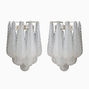 Vintage Glass Petal Drop Sconces, 1979, Set of 2