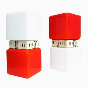 Italienische Mid-Century würfelförmige Tischlampen in Orange & Weiß, 2er Set