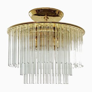 Brass & Glass Tube Chandelier, 1960s