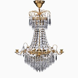 Vintage Swedish Brass & Crystal Chandelier
