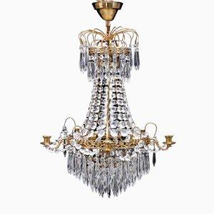 Vintage Swedish Brass & Crystal Chandelier