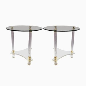 Tavolini vintage in lucite e ottone, Francia, set di 2