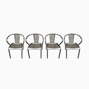 Chaises Empilables en Métal Perforé, 1950s, Set de 4