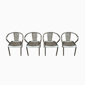 Perforated Metal Stackable Chairs, 1950s, Set of 4