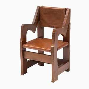 Italian Wood & Cognac Leather Armchair, 1930s
