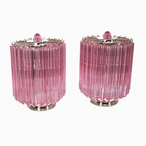 Pink Quadriedri Table Lamps, 1980s, Set of 2