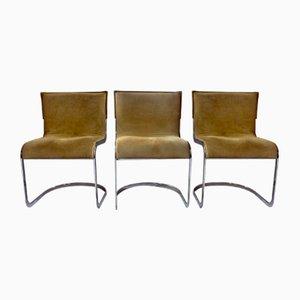 Esszimmerstühle aus Wildleder von Willy Rizzo für Cidue, 1970er, 3er Set