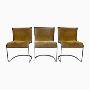 Suede Dining Chairs by Willy Rizzo for Cidue, 1970s, Set of 3