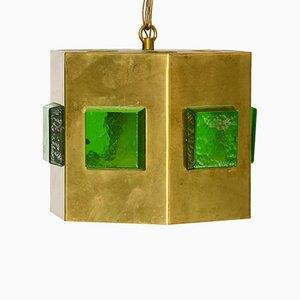Swedish Brass & Glass Prism Pendant Lamp, 1960s