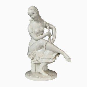 Mädchen mit Flechtzopf Porzellanfigur von Arthur Storch für Schwarzburger Werkstätten, 1960er