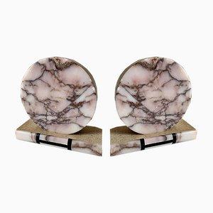 Buchstützen aus Marmor im Art Déco-Stil, 1950er, 2er Set