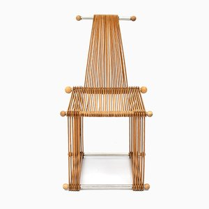 Vintage Prototype Wooden Slatted Chair, 1980s