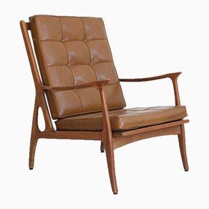 Brauner Vintage Sessel aus Leder & Holz, 1960er