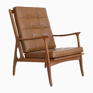 Vintage Brown Leather & Wood Lounge Chair, 1960s