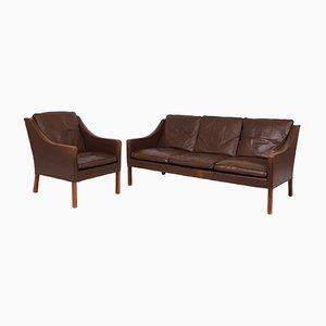 Braunes Vintage Modell 2207 & 2209 Wohnzimmer-Set aus Leder von Børge Mogensen für Fredericia