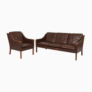 Vintage Brown Leather Model 2207 & 2209 Living Room Set by Børge Mogensen for Fredericia