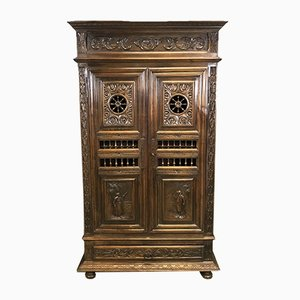 Vintage Antique Style Carved Chestnut Wardrobe
