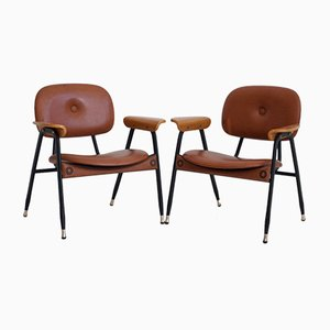 Italian Brown Leather and Metal Armchairs, 1960s, Set of 2