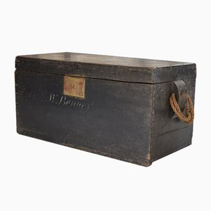 18th-Century Black Wooden Sea Chest