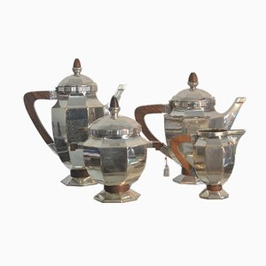 Art Deco French Silvered Coffee Service Set from Gallia, 1930s