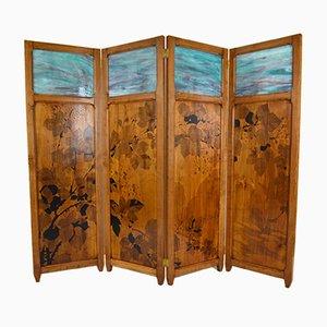 Antiker Jugendstil Paravent aus Holz und Brandmalerei auf Glas mit vier Panelen von G. Royer, 1910er, 4er Set