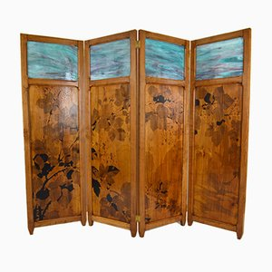 Antique Art Nouveau Pyrographed Wood & Stained Glass Four-Panel Folding Screen by G. Royer, 1910s