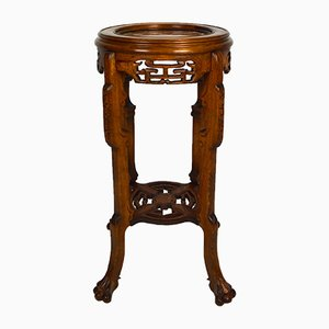 Antique Carved Wood Side Table, 1890s