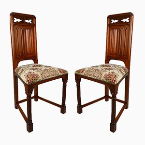 Antique Gothic Revival French Carved Walnut Chairs, 1890s, Set of 2