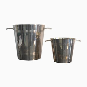 Vintage Art Deco French Silvered Champage Buckets, Set of 2