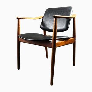 Schreibtischstuhl aus Teak & Leder von Arne Vodder für Bo-Ex Bovirke, 1950er