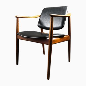 Sedia da scrivania in teak e pelle di Arne Vodder per Bo-Ex Bovirke, anni '50