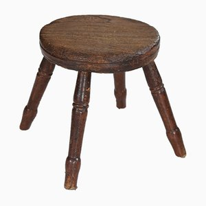 Antique Georgian Oak and Elm Milking Stool