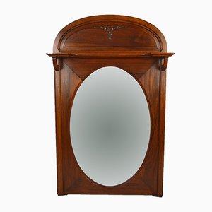 Specchio Art Nouveau antico in legno di noce intagliato, Francia, anni '10