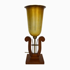 Art Deco Style French Lyre Shaped Table Lamp, 1940s