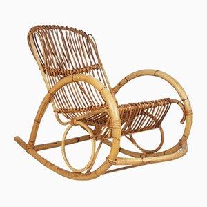 Rocking Chair Mid-Century en Rotin, Italie