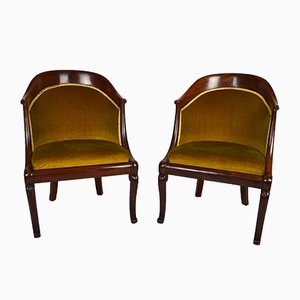 Antique French Carved Mahogany Tub Chairs, Set of 2