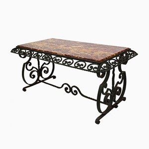 Art Deco Style Wrought Iron Coffee Table with Marble Top, 1940s