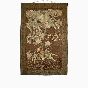 Large Antique Japanese Meiji Silk Embroidered Tapestry, 1890s