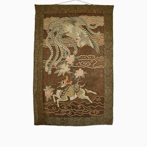 Tapiz japonés antiguo grande de seda Meiji bordado, década de 1890