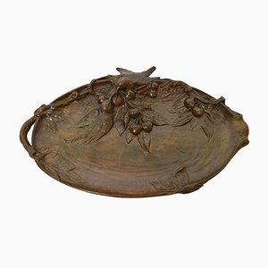 Small Art Nouveau French Bronze Tray, 1900s