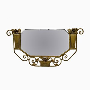 Art Deco French Gilt & Wrought Iron Floral Wall Mirror, 1930s