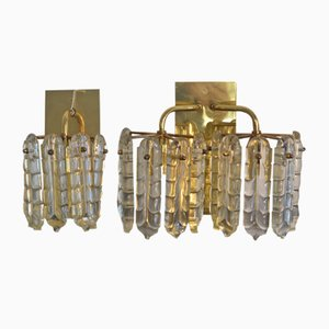 Vintage Brass & Glass Wall Lamp from Christoph Palme, 1970s, Set of 2
