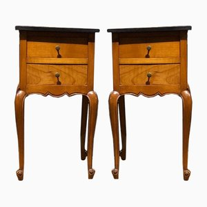 Tables de Chevet Antiques en Merisier, France, Set de 2